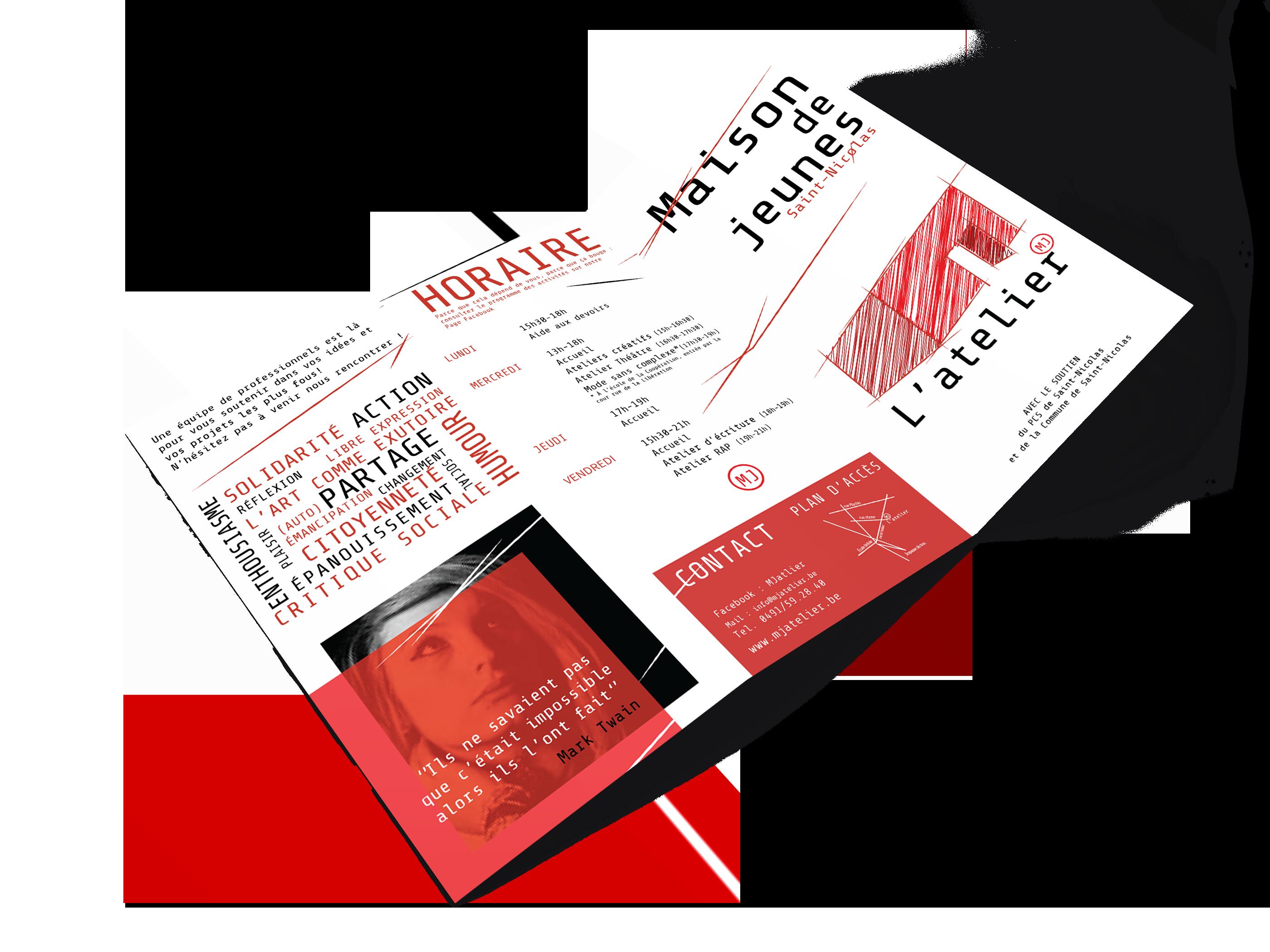 Brochure informative (recto) - Maison de jeunes L'atelier